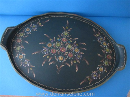 a vintage hand painted wooden Frisian serving tray