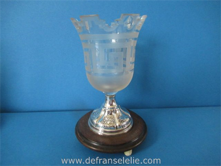 an antique silver mounted crystal cigar beaker