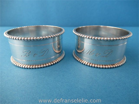 a pair of antique Dutch silver napkin rings