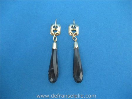 a pair of vintage 14ct gold smoky quartz earrings