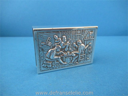 a vintage Dutch silver match box holder