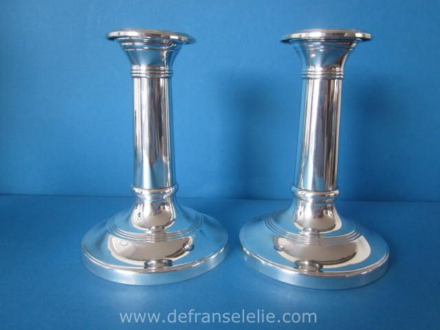 A Pair Of Dutch Sterling Silver Weighted Candlesticks