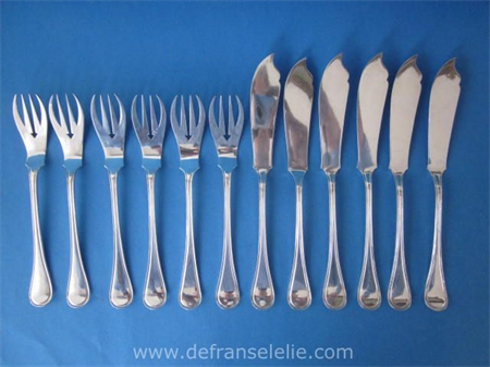 a set of six antique Dutch silver fish forks and knives