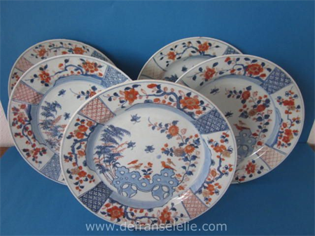a set of five antique Chinese imari porcelain plates