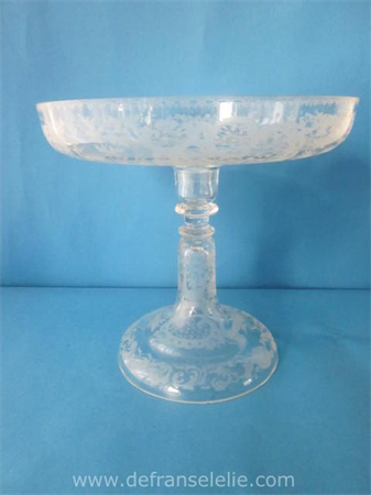 an antique engraved German glass tazza