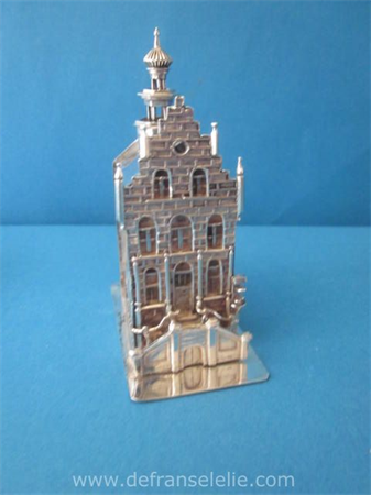 an antique Dutch silver miniature of a stepped gable house