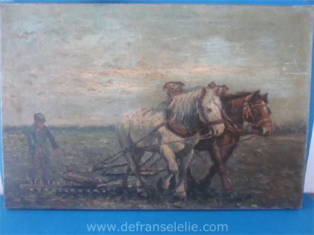 an oil painting on canvas landscape signed W. van Oort